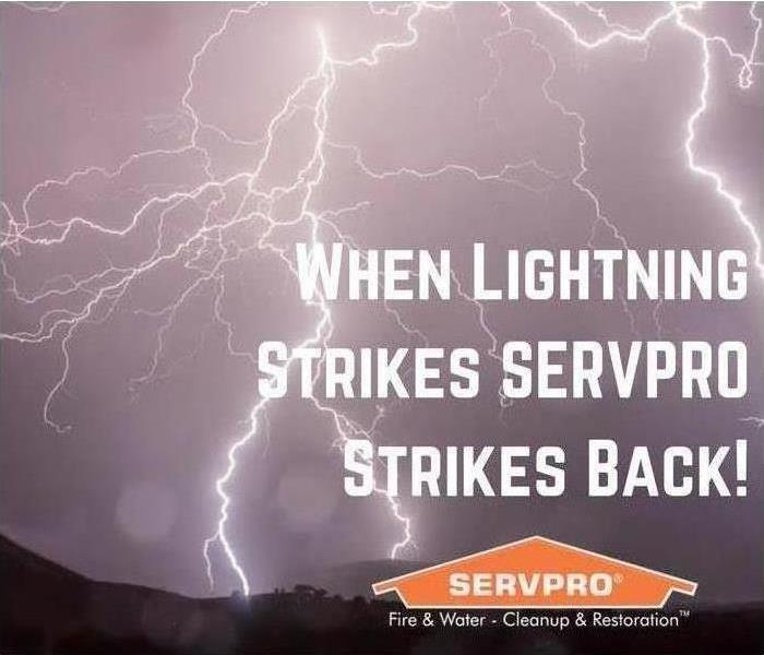Evening sky showing bright lightning strikes with caption added that says When Lightning Strikes SERVPRO Strikes Back!